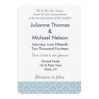"Chic Blue Hexagon Geometric Wedding 5"" X 7"" Invitation Card"