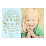Chic Blue Holly Jolly Christmas Custom Photo Cards Personalized Invite