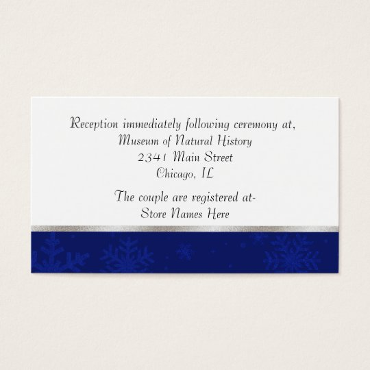 Chic Blue Jewelled Snowflake Wedding Enclosure Business Card