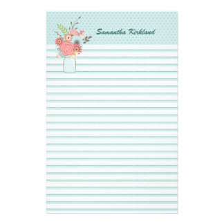 Chic Blue Lined Custom Stationery