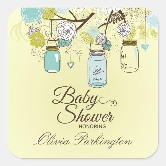 Chic blue mason jar floral baby shower stickers