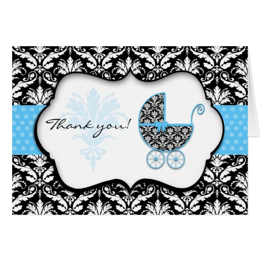 Chic Blue Polka Dot Damask Baby Shower Thank You