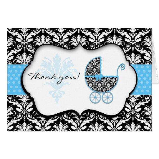 Chic Blue Polka Dot Damask Baby Shower Thank You Card