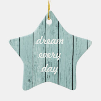 Chic Blue Rustic Wood Christmas Ornament