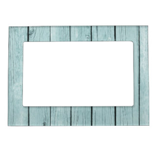 Chic Blue Rustic Wood Magnetic Picture Frame