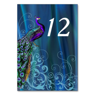Chic Blue Satin Look Wedding Table Number Card Table Card