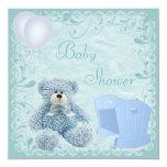 Chic Blue Teddy & Crib Baby Boy Shower 13cm X 13cm Square Invitation Card