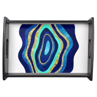 Chic blue turquoise gold agate watercolor pattern serving tray