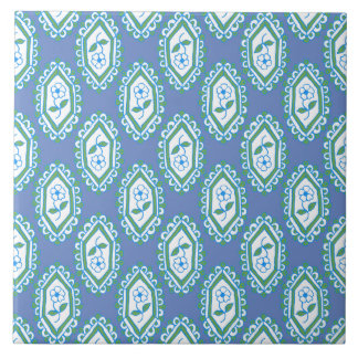 Chic Blue Vintage Periwinkle Floral Pattern Tile