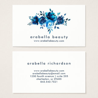 Chic Blue Watercolor Floral Roses Business Card