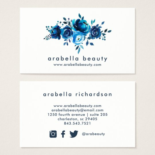 Chic Blue Watercolor Floral | Social Media Icons