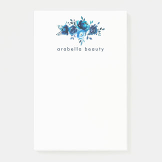 Chic Blue Watercolor Floral with Business Name Post-it Notes