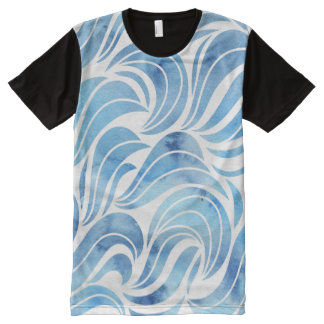 Chic blue Wave Pattern All-Over Print T-Shirt