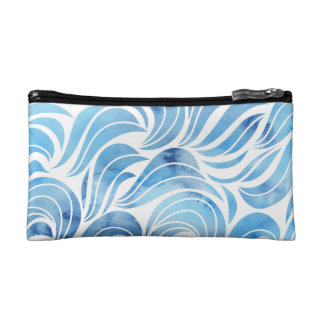 Chic blue Wave Pattern Makeup Bag