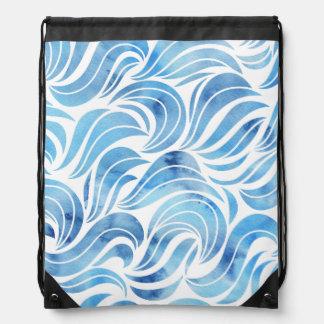 Chic blue Wave Pattern Rucksacks
