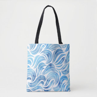 Chic blue Wave Pattern Tote Bag
