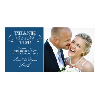 Chic Blue Wedding Photo Thank You Cards