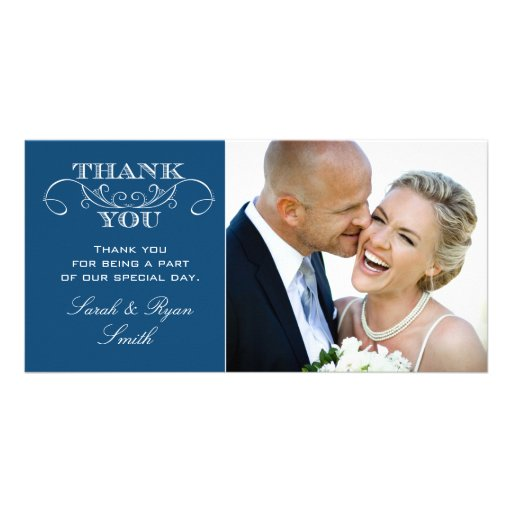 Chic Blue Wedding Photo Thank You Cards Photo Cards