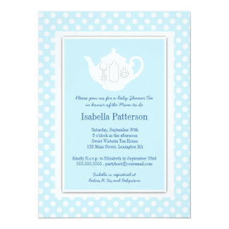 Chic Blue | White Teapot Baby Shower Tea Party 14 Cm X 19 Cm Invitation Card