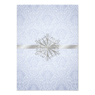 Chic Blue Winter Snowflake Wedding Invitation