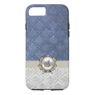 Chic Blue & Winter White Damask iPhone 7 case
