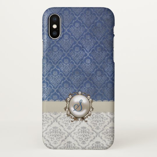 Chic Blue & Winter White Damask iPhone X
