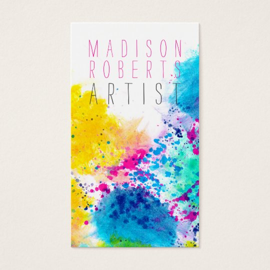 Chic blue yellow pink abstract watercolor splatter business