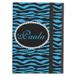 Chic Blue Zebra Print Monogram Ipad Case