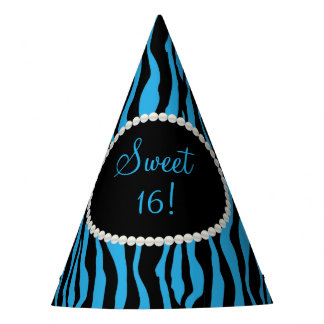 Chic Blue Zebra Print Sweet 16 Party Hats