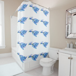 Chic Bluebell Watercolour Painting Shower Curtain