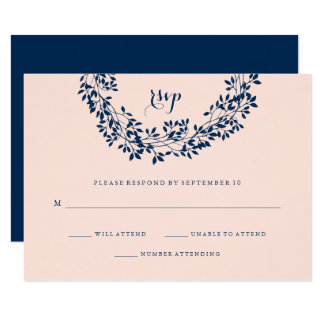Chic Blush and Navy Botanical Wreath RSVP Card