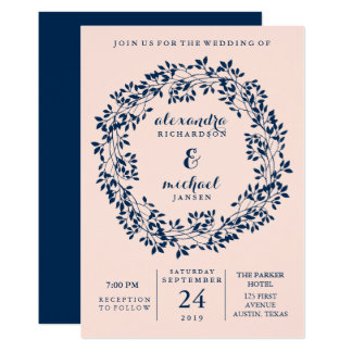 Chic Blush and Navy Botanical Wreath Wedding Card