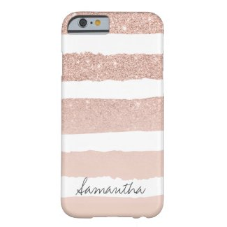 Chic blush pink faux rose gold stripes custom Case-Mate iPhone case