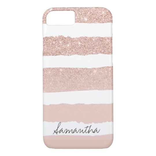 Chic blush pink faux rose gold stripes custom
