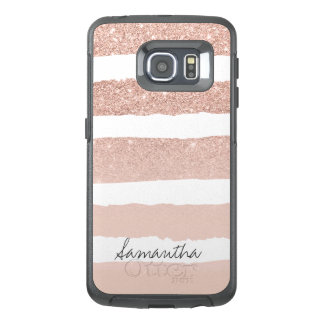 Chic blush pink faux rose gold stripes custom OtterBox samsung galaxy s6 edge case