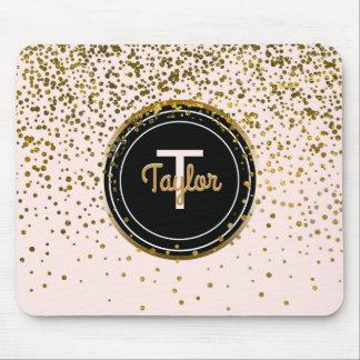 Chic Blush Pink Gold Glam Confetti Dots | Monogram Mouse Mat