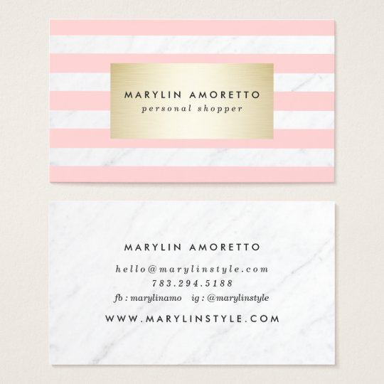 Chic blush pink stripes elegant white marble gold