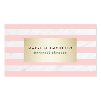Chic blush pink stripes elegant white marble gold pack of standard business cards