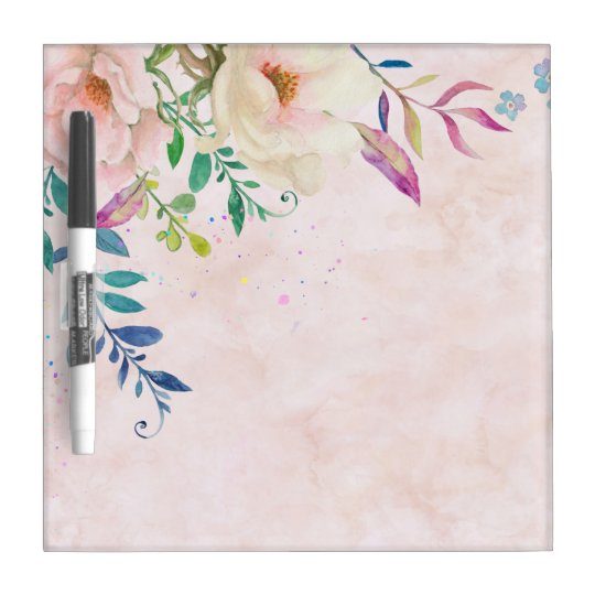 Chic Blush Watercolor Floral Paint Splatter Modern Dry-Erase
