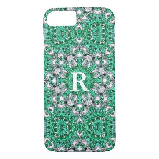 chic bohemian Kaleidoscope emerald green mandala iPhone 8/7 Case