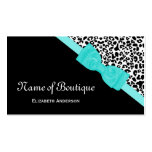 Chic Boutique Black and White Leopard Aqua Ribbon Pack Of Standard Business Cards