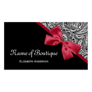 Chic Boutique Black and White Paisley Red Ribbon Business Card Templates