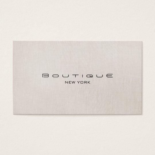 Chic Boutique Faux Beige Linen Professional Simple Business Card