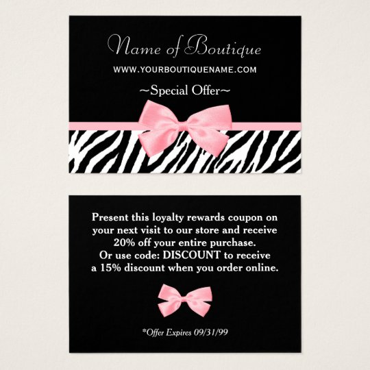 Chic Boutique Light Pink Ribbon Discount Coupon Business
