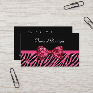 Glitzy business cards zazzle uk chic boutique pink zebra print faux glitz bow business card reheart Gallery