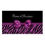 Chic Boutique Purple Zebra Print FAUX Glitz Bow Pack Of Standard Business Cards