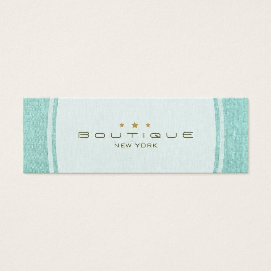 Chic Boutique Simple Turquoise Blue Linen Look Mini Business Card