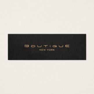 Chic Boutique Stylish Designer Faux Black Linen Mini Business Card