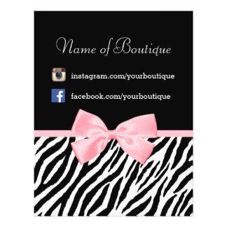 Chic Boutique Zebra Pink Bow Promotional Marketing 21.5 Cm X 28 Cm Flyer