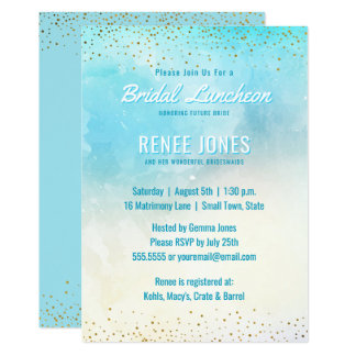 Chic Bridal Luncheon   Teal Blue Watercolor Shower Card